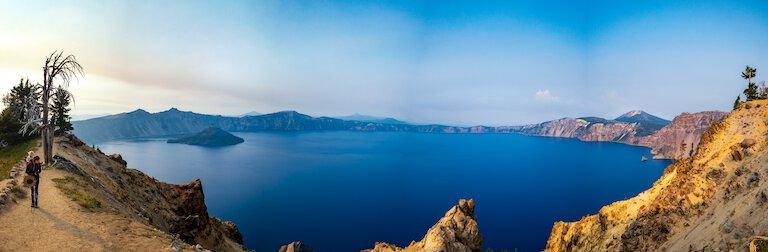 panoramic photo of crater lake