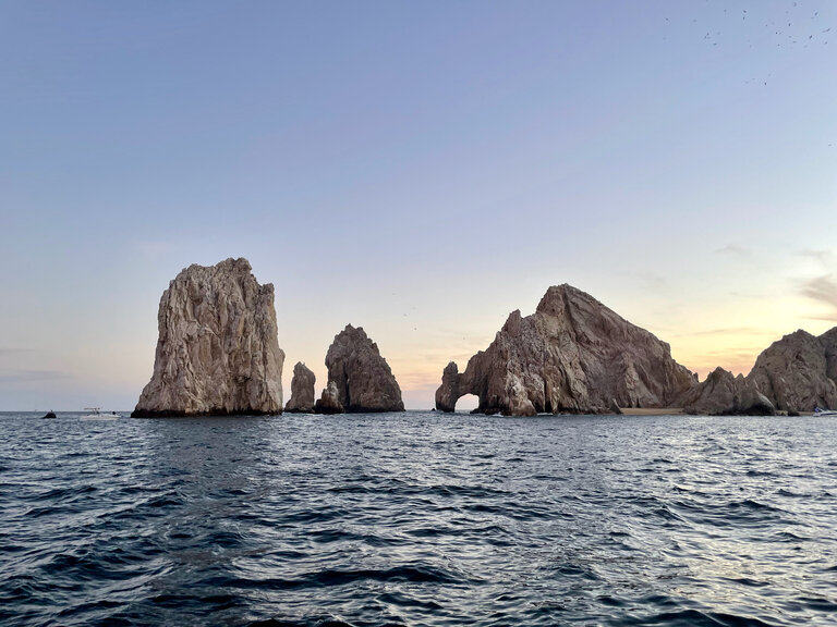 view of the arco in cabo at sunset
