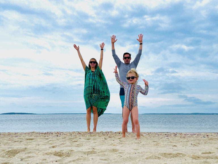 sierra, john, and stella celebrating fourth of july in sag harbor
