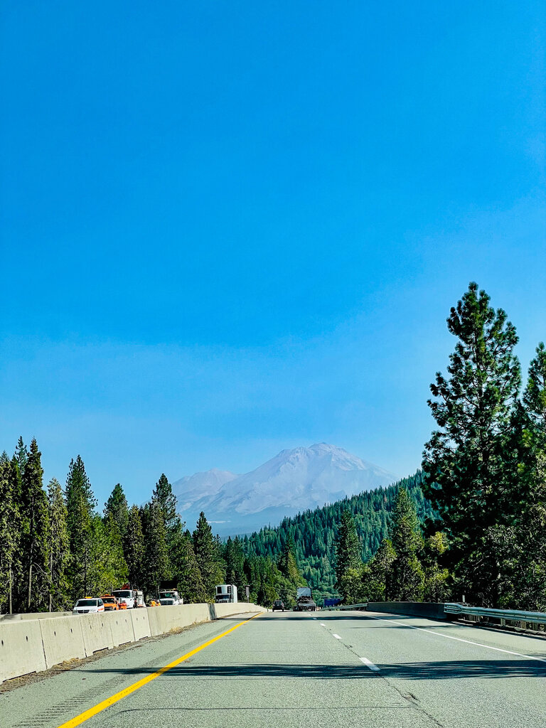 view of mt shasta on the I5 heading north