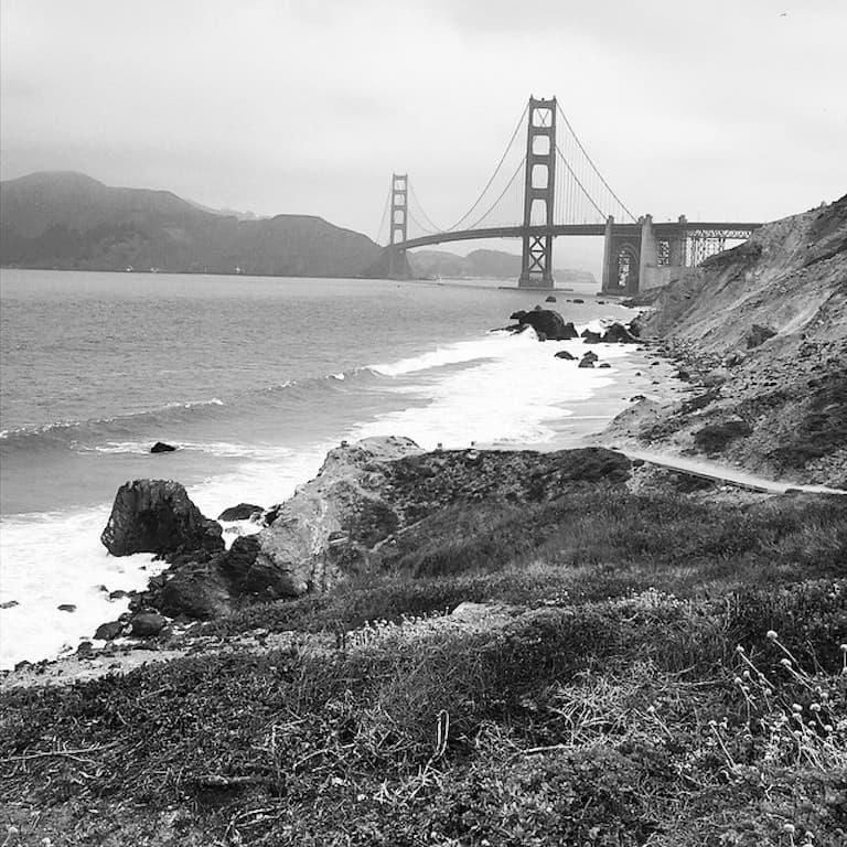 golden gate bridge from the presidio cliffs