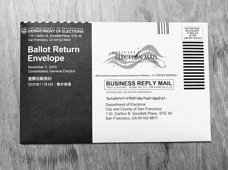 picture of my election ballot from the 2020 presidential election
