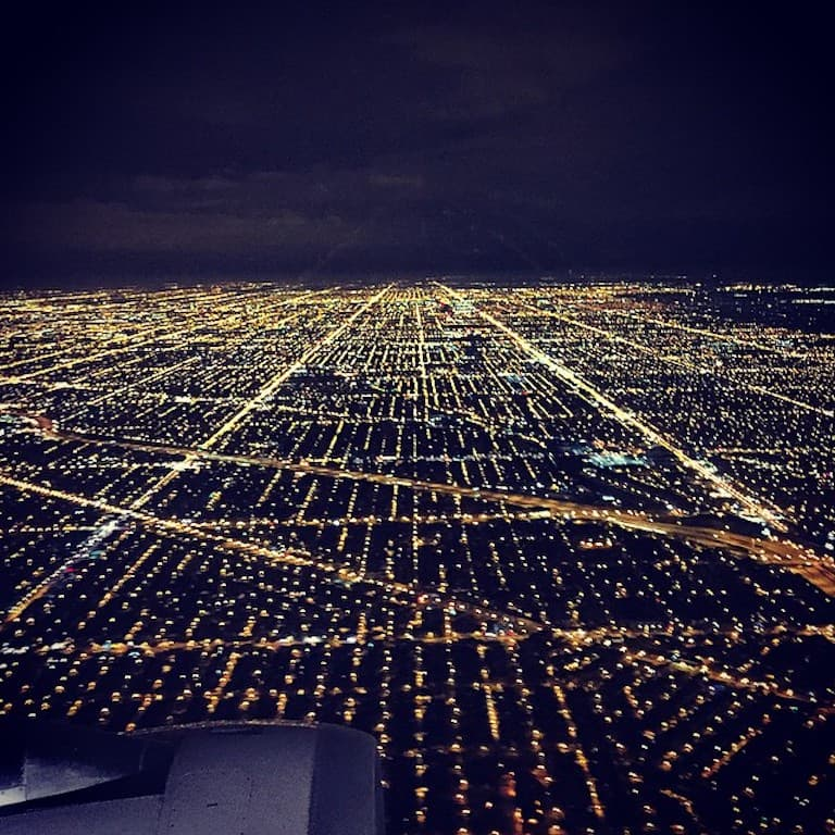 photo from the cabin landing in chicago at night