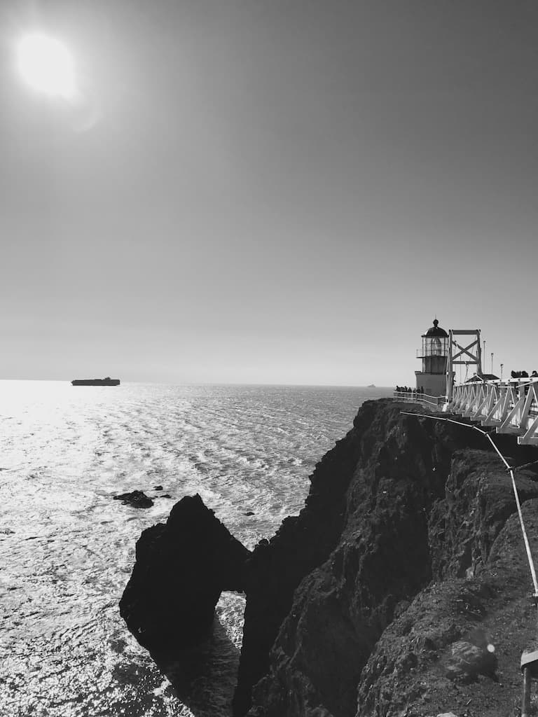 view looking west from point bonita lighthouse