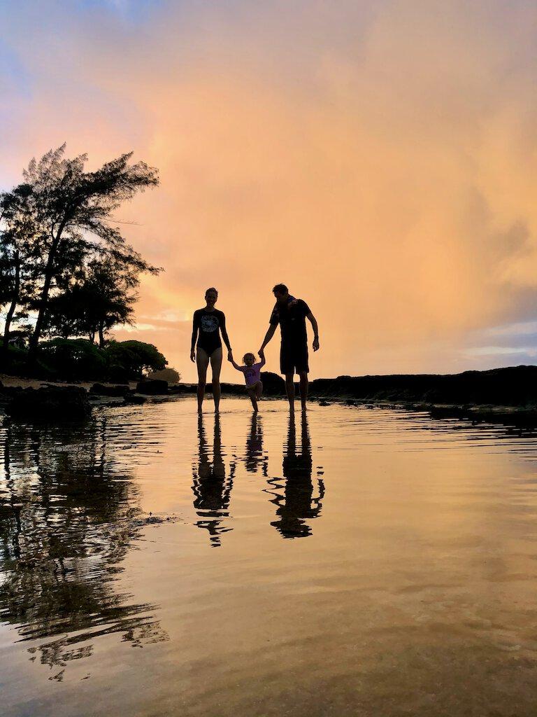 john, sierra, and stella enjoying the sunset in hanalei